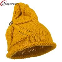Buy cheap Women Acrylic Beanie Winter Hats with Flower Accent Button / Rolled Brim from wholesalers