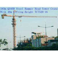 Buy cheap 183m Q345B Steel China Hammer Head Tower Crane With 48m Lifting Height TC7520-16 from wholesalers