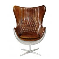 Buy cheap Vintage Top Grian Real Leather Office Desk Chair Aluminium Back Metal Base from wholesalers