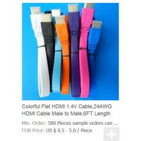 Buy cheap Colorful Flat HDMI 1.4V Cable,24AWG HDMI Cable Male to Male,6FT Length from wholesalers