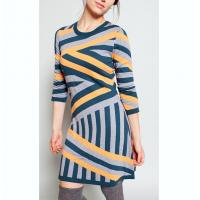 Buy cheap Intarsia Striped Sweater Dress 30 Extrafine Merino Wool 35 Viscose 35 Nylon Material from wholesalers