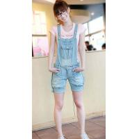 Buy cheap lady's short jeans/trousers with braces from wholesalers