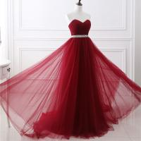 Buy cheap Noble Claret Color Ladies Evening Dresses For Women , Long Evening Gowns from wholesalers