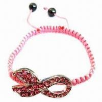 Buy cheap Shamballa Bracelet, Hot-style Pink Breast Cancer Awareness Shape from wholesalers