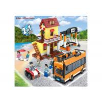 Multi Color Building Blocks Educational Toys Lego Style Bus Station 410Pcs