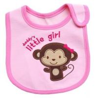 Buy cheap Pink Monkey Feeding Bibs For Babies / Personalized Baby Bibs for Baby Girl from wholesalers