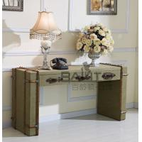 Buy cheap classical old style antique green canvas fabric STUDY desk furniture from wholesalers
