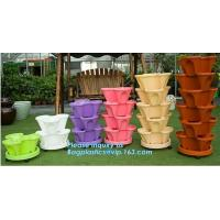 Buy cheap PP Plastic materials hydroponic vertical tower stackable plastic garden pots,vertical tower farming use stacking planter from wholesalers