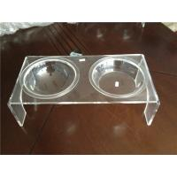 Quality Luxury Clear Acrylic Pet Bowl Stand With Two Bowls For Dog / Cat for sale