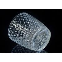 China Embossed Nail Design Glass Candle Holder Christmas Deco Glass Candle Jars on sale