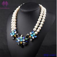 Buy cheap Romantic Wedding Jewelry sapphire Charms Graceful Delicate Simulated Layer Pearl Bridesmaid Necklace from wholesalers