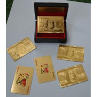 Buy cheap Wooden box $100 Dollar Gold Playing Cards with Both sides gold foil Material from wholesalers