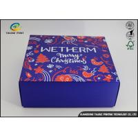 China Luxury Christmas Printed Blue Cardboard Gift Boxes / Packaging Paper Box on sale