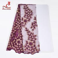 Buy cheap Guipure Lace Fabric African beaded Flower Lace Embroidery Fabric For Clothing from wholesalers