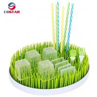 Buy cheap Round shaped plastic green lawn countertop baby bottle grass drying rack drainer rack from wholesalers