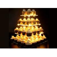 Buy cheap Transparent Acrylic Cake Display Stand Clear 4 Tier Square Cupcake Stand from wholesalers