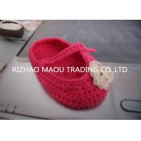 Buy cheap 6cm Red Crochet Baby Shoes Flower Decoration Handmade Knitted Baby Slippers from wholesalers
