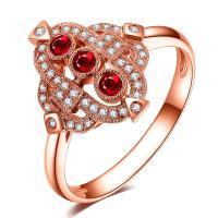 Luxury Gemstone Gold Jewelry For Women Three Stone Ruby Diamond Engagement Ring