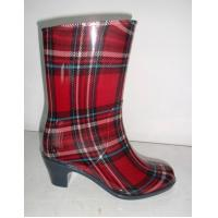 Buy cheap Red Grid High Heel Rain Boots Women , Size 36-40# Beautiful For Riding from wholesalers