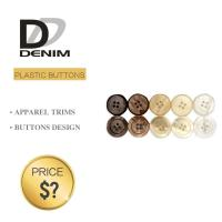 Buy cheap Plastic Shiny Pearl Denim Shirt Buttons White / Black Color With 4 Holes product