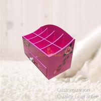 Buy cheap Matte Pink Color Finished Hand Drawing MDF Wooden Desktop Cosmetics Display Organizer Box, Personalized Logo Brand. product
