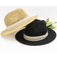 Buy cheap Panama hat custom sunscreen hat fashion straw board jazz hat beach Straw Fedora Hat from wholesalers