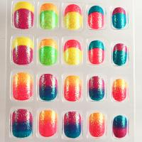 Buy cheap French Style Neon Fake Nails Gradient Full Cover Artificial Nail For Kids from wholesalers