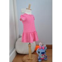 Buy cheap Bow Neck  Girls Pink And White Striped Dress , Young Girls Party Dresses Elastic Waist from wholesalers