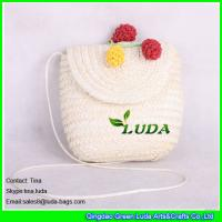 Buy cheap LUDA new design white straw beach bag pom ball trim wheat straw shoulder bags from wholesalers