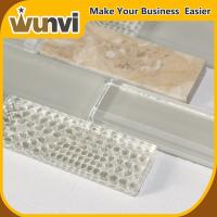 Buy cheap Glass and Stone Strip Mosaic Tile For Kitchen Backsplash , stone glass mosaic tile from wholesalers