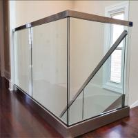 China Indoor laminated glass porch railing with slot stainless steel handrail on sale