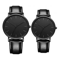 Buy cheap Matte Black Men Quartz Dress Watch With Black Genuine Leather Strap Band from wholesalers