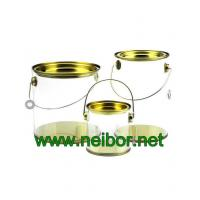 Buy cheap Clear Cylindrical PVC PET bucket plastic pail with tin lid and bottom paint can bucket from wholesalers