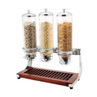 Buy cheap CE Stainless Steel Cookwares , Wooden Base Triple Cereal Dispenser for Buffet Service 4.0Ltr x 3 from wholesalers