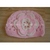 Buy cheap Cable Pattern Pink Crochet Flower Hat Hollow Out Crochet Baby Hats With Flowers from wholesalers