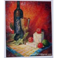 Buy cheap Still life oil painting-wine bottle, glass and fruits from wholesalers