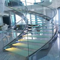 Buy cheap Portable DIY Tempered Glass Panels glass/wooden deaign Curved Stairs from wholesalers