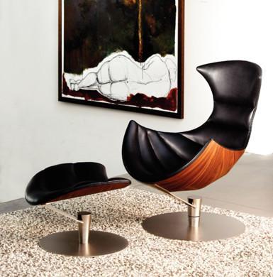 Quality Hjellegjerde Lobster Fiberglass Arm Chair Leather Leisure Modern Design for sale