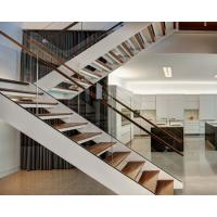 Quality Wooden Straight Staircase Design With Glass Railing for Residence for sale