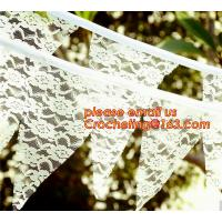 Buy cheap Photo booth burlap banner wedding burlap lace banner, lace bunting banner vintage, rustic wedding banner from wholesalers