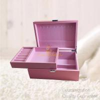 Buy cheap Matte Pink Color Women Girls' Vacation Gift Wooden Jewelry Storage Chest Box with Mirror , Personalized Logo Brand. product