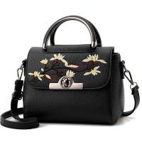 Buy cheap Embroidered PU Women Leather Messenger Bag ,Hand Totes  Ladies Shoulder Bag With Zipper Hide Porket from wholesalers