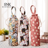Buy cheap Drawstring Vintage Flower Printing Cotton Wine Bottle Sleeve from wholesalers