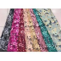 Buy cheap Gold Silver Sequin Fabric , Multi Colored Embroidered Floral Dress Lace Fabric For Gown product