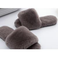 Buy cheap Light Grey Lambswool Fluffy Flip Flop Slippers , Women'S Backless Sheepskin Slippers from wholesalers
