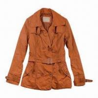Buy cheap Lady's Long Leather Jacket with Waistband from wholesalers