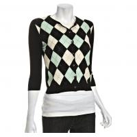 Buy cheap Black Argyle Cashmere Cardigan Womens Knitted Sweaters With Rhinestone from wholesalers