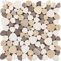 Buy cheap Black And White Glass Mosaic Tiles , 3D Triangle Round Marble Mosaic Wall Tile 30x30 from wholesalers