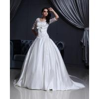 Buy cheap Luxurious Lace Long Sleeved V Neck chiffon Wedding gowns with long trains from wholesalers