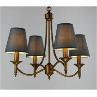 Buy cheap Brown Fabric Cover Wrought Iron Pendant Light 4 Bulbs for Coffee Shops from wholesalers